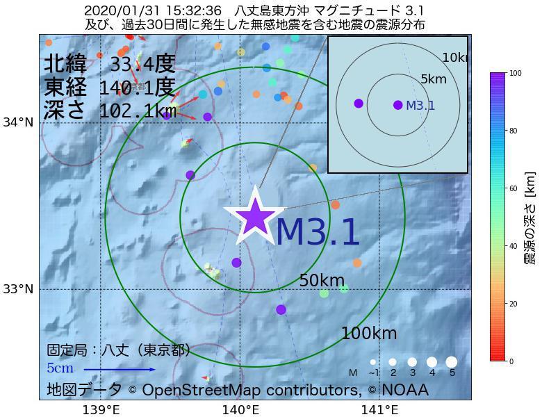 地震震源マップ:2020年01月31日 15時32分 八丈島東方沖でM3.1の地震