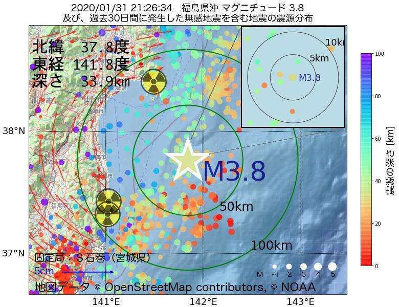 地震震源マップ:2020年01月31日 21時26分 福島県沖でM3.8の地震
