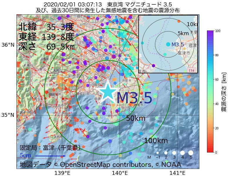 地震震源マップ:2020年02月01日 03時07分 東京湾でM3.5の地震