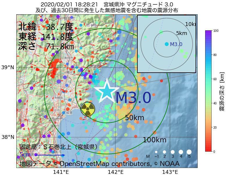 地震震源マップ:2020年02月01日 18時28分 宮城県沖でM3.0の地震