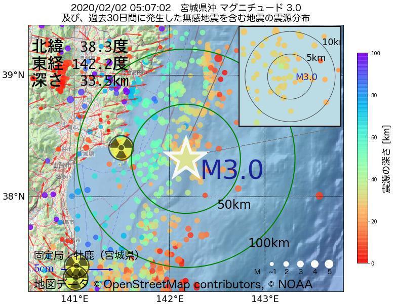 地震震源マップ:2020年02月02日 05時07分 宮城県沖でM3.0の地震