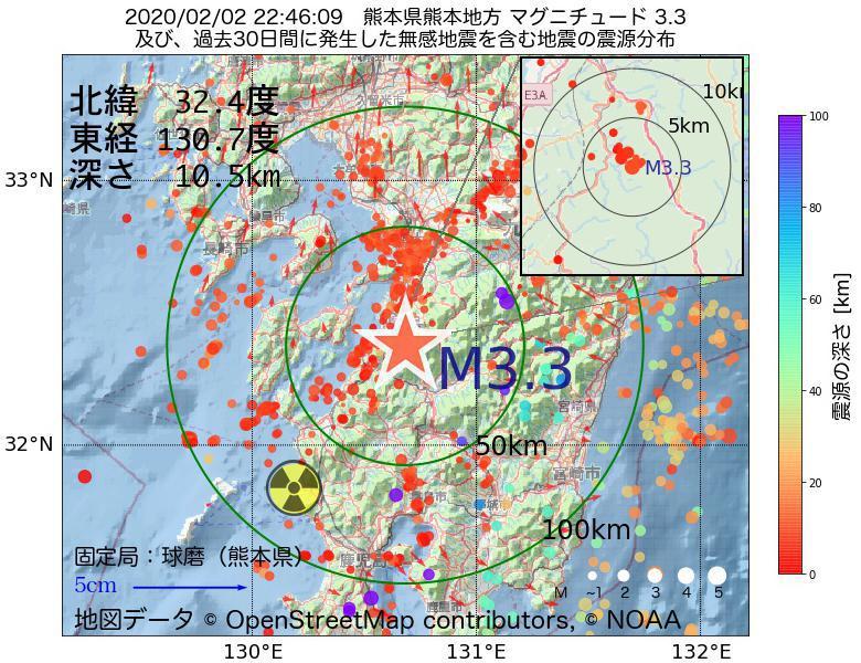 地震震源マップ:2020年02月02日 22時46分 熊本県熊本地方でM3.3の地震