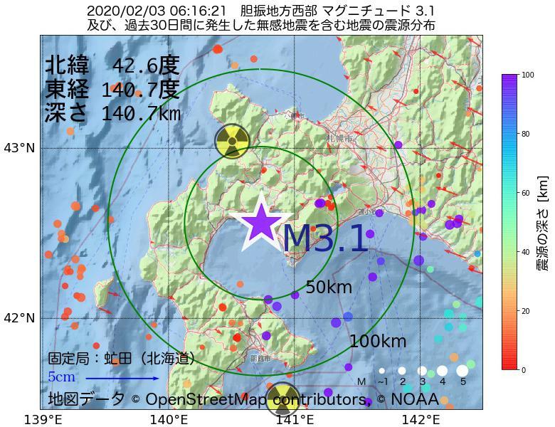 地震震源マップ:2020年02月03日 06時16分 胆振地方西部でM3.1の地震