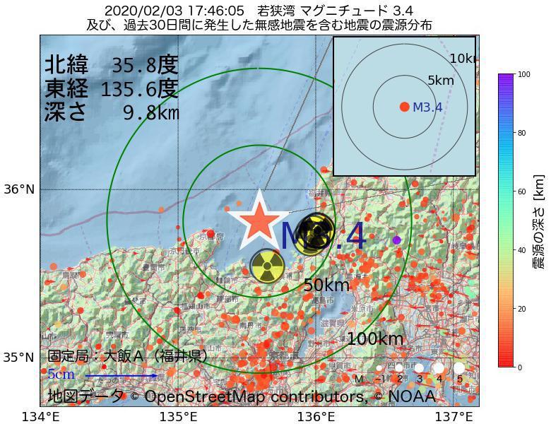 地震震源マップ:2020年02月03日 17時46分 若狭湾でM3.4の地震