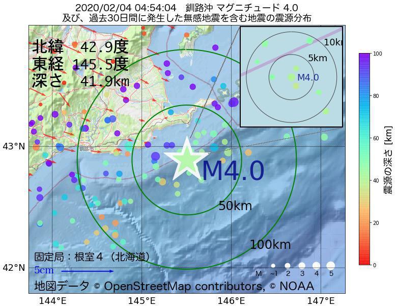 地震震源マップ:2020年02月04日 04時54分 釧路沖でM4.0の地震
