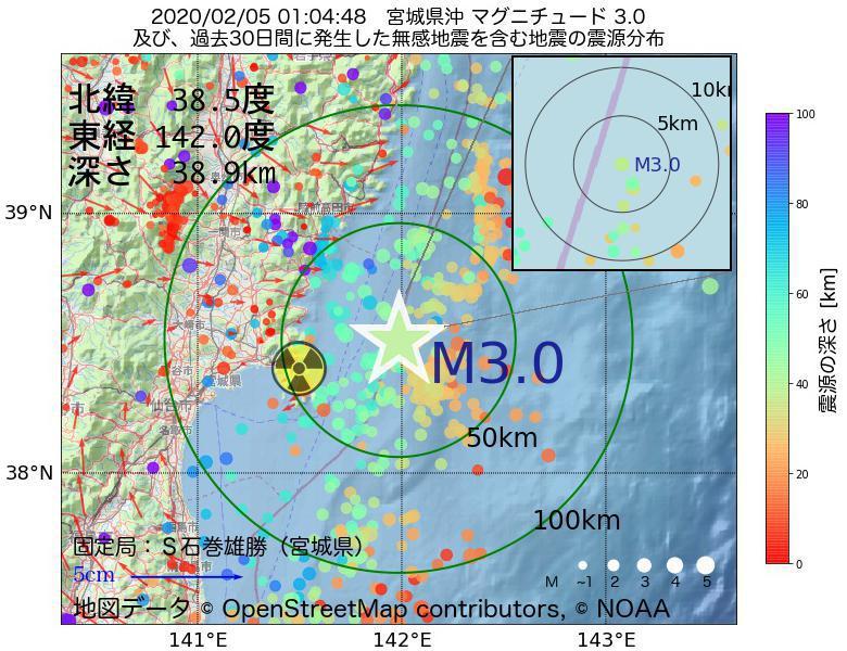 地震震源マップ:2020年02月05日 01時04分 宮城県沖でM3.0の地震