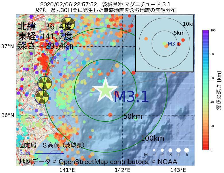 地震震源マップ:2020年02月06日 22時57分 茨城県沖でM3.1の地震