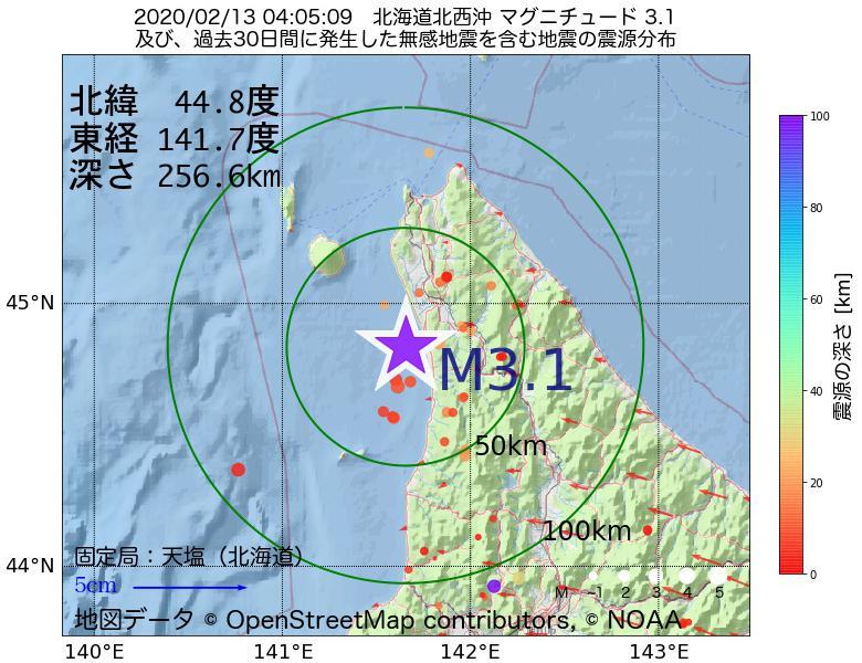 地震震源マップ:2020年02月13日 04時05分 北海道北西沖でM3.1の地震