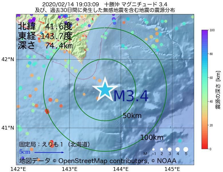 地震震源マップ:2020年02月14日 19時03分 十勝沖でM3.4の地震