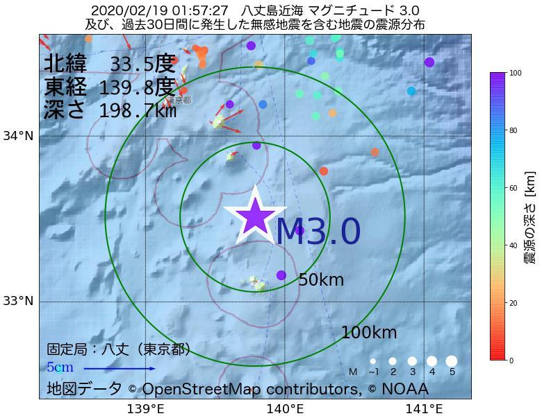 地震震源マップ:2020年02月19日 01時57分 八丈島近海でM3.0の地震