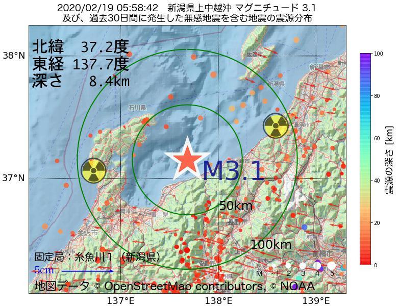 地震震源マップ:2020年02月19日 05時58分 新潟県上中越沖でM3.1の地震