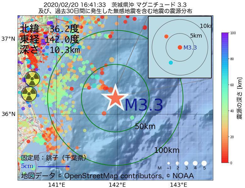 地震震源マップ:2020年02月20日 16時41分 茨城県沖でM3.3の地震