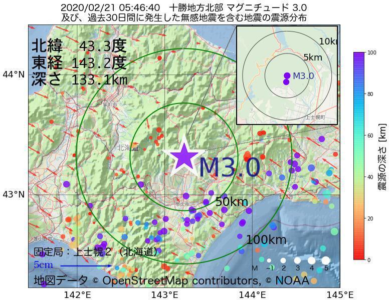 地震震源マップ:2020年02月21日 05時46分 十勝地方北部でM3.0の地震