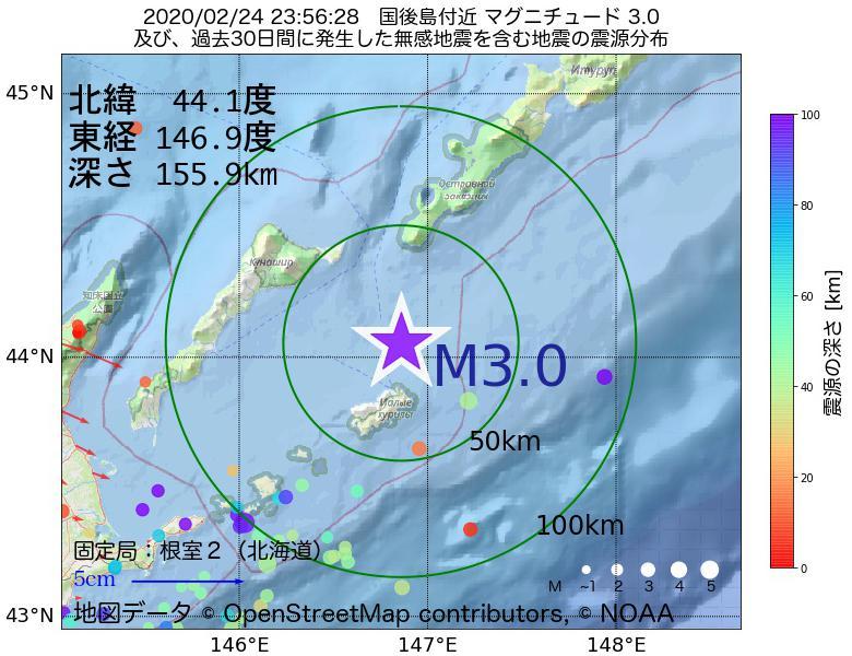 地震震源マップ:2020年02月24日 23時56分 国後島付近でM3.0の地震