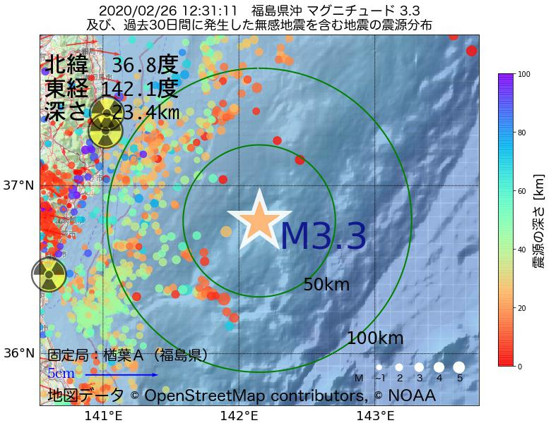 地震震源マップ:2020年02月26日 12時31分 福島県沖でM3.3の地震