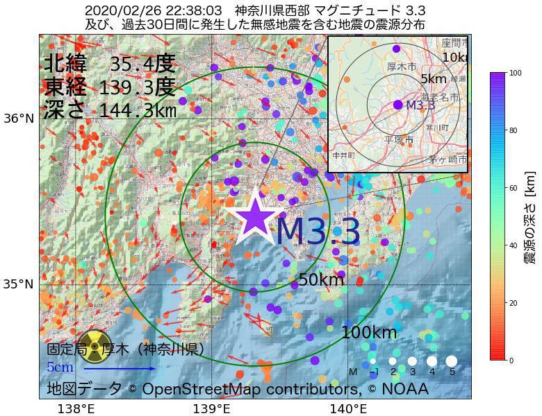 地震震源マップ:2020年02月26日 22時38分 神奈川県西部でM3.3の地震