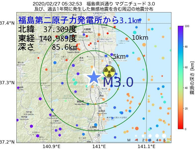 地震震源マップ:福島第二原子力発電所から3.1km地点でM3.0の地震が発生しました