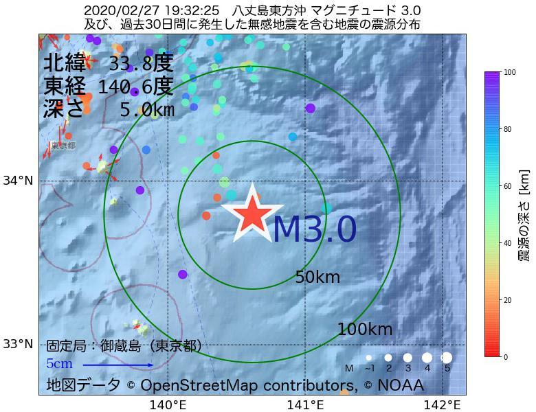 地震震源マップ:2020年02月27日 19時32分 八丈島東方沖でM3.0の地震