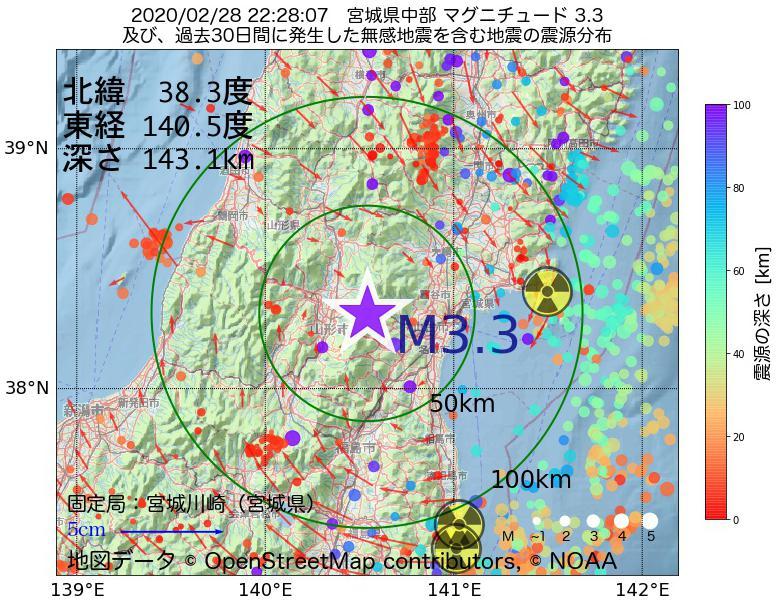 地震震源マップ:2020年02月28日 22時28分 宮城県中部でM3.3の地震