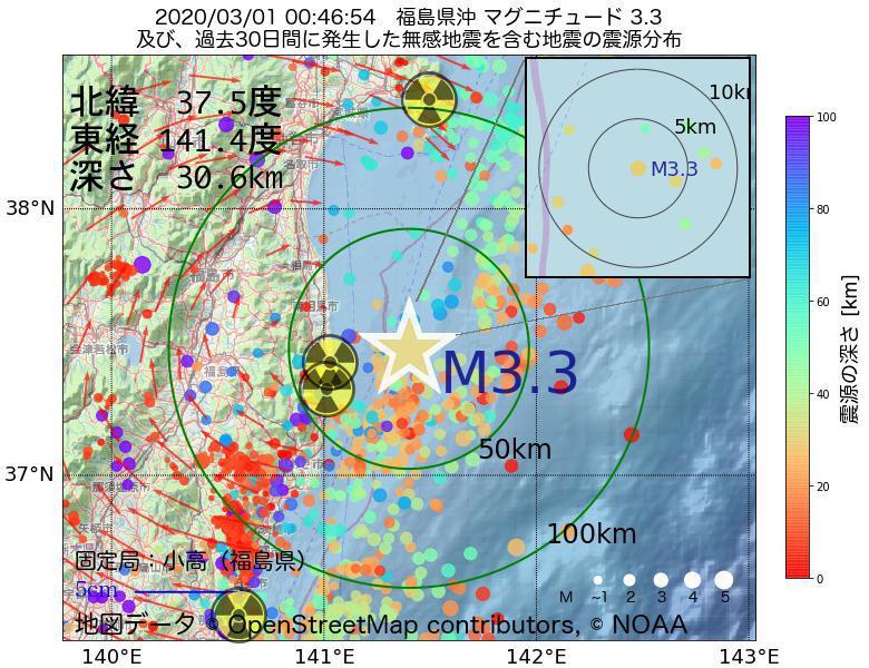 地震震源マップ:2020年03月01日 00時46分 福島県沖でM3.3の地震