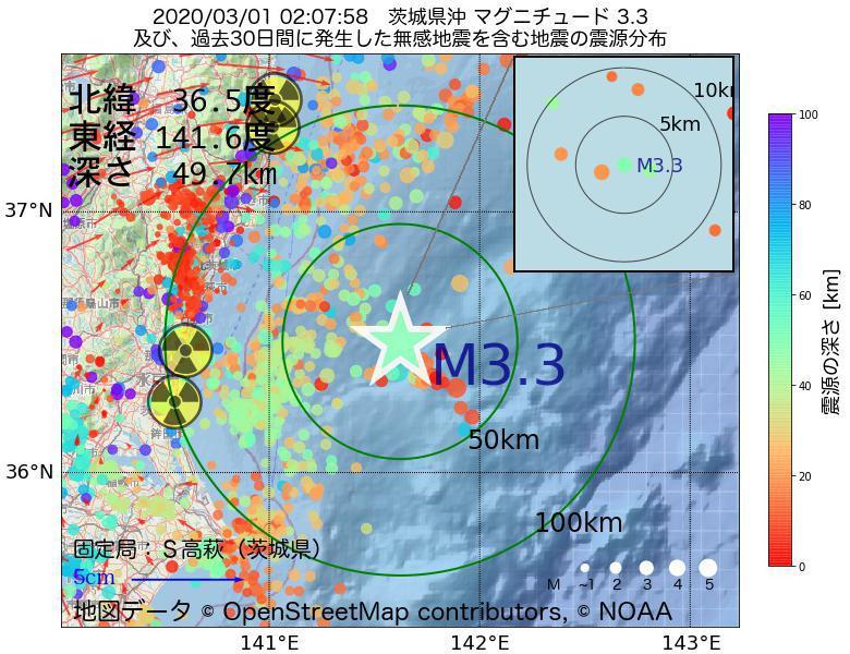 地震震源マップ:2020年03月01日 02時07分 茨城県沖でM3.3の地震