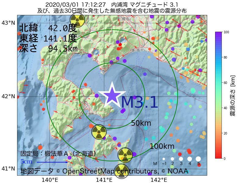 地震震源マップ:2020年03月01日 17時12分 内浦湾でM3.1の地震