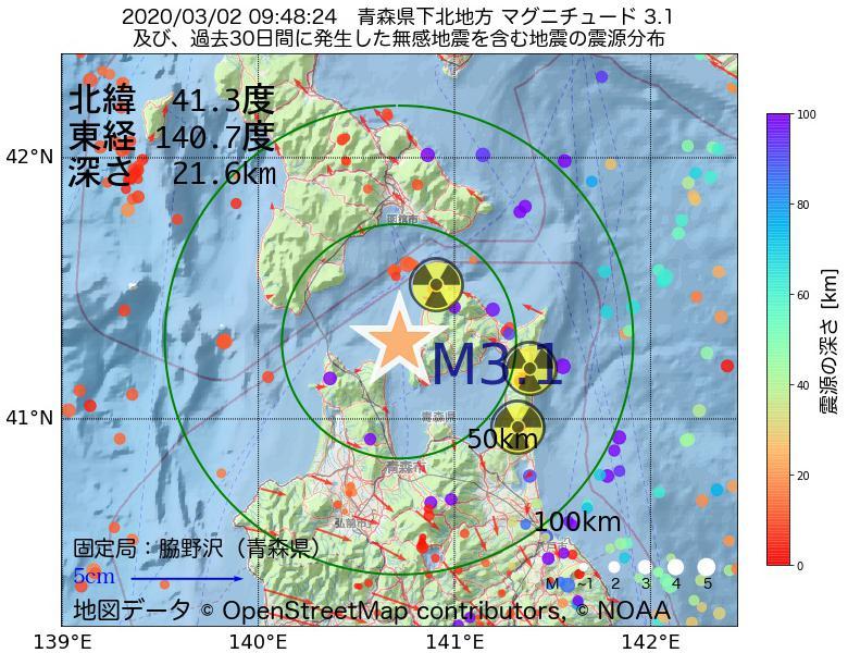 地震震源マップ:2020年03月02日 09時48分 青森県下北地方でM3.1の地震