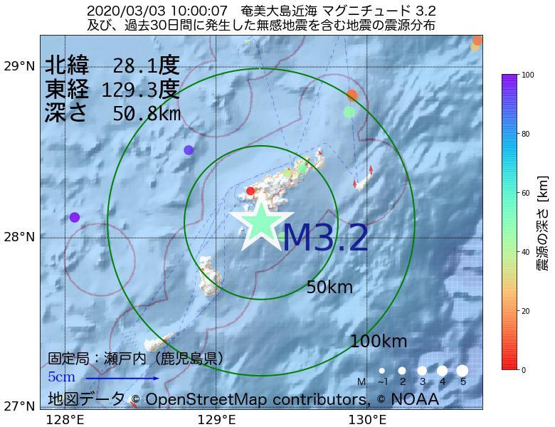 地震震源マップ:2020年03月03日 10時00分 奄美大島近海でM3.2の地震