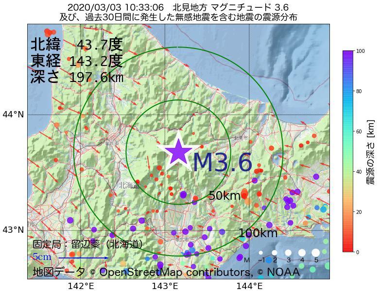 地震震源マップ:2020年03月03日 10時33分 北見地方でM3.6の地震