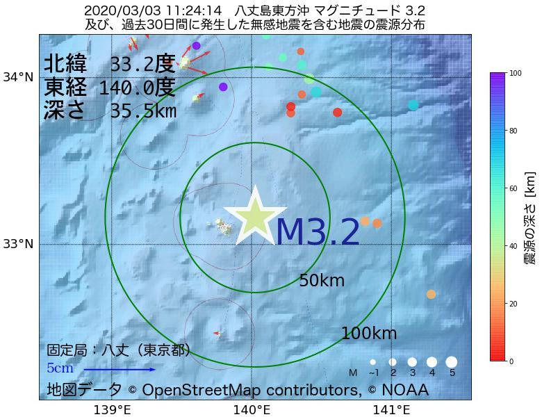 地震震源マップ:2020年03月03日 11時24分 八丈島東方沖でM3.2の地震