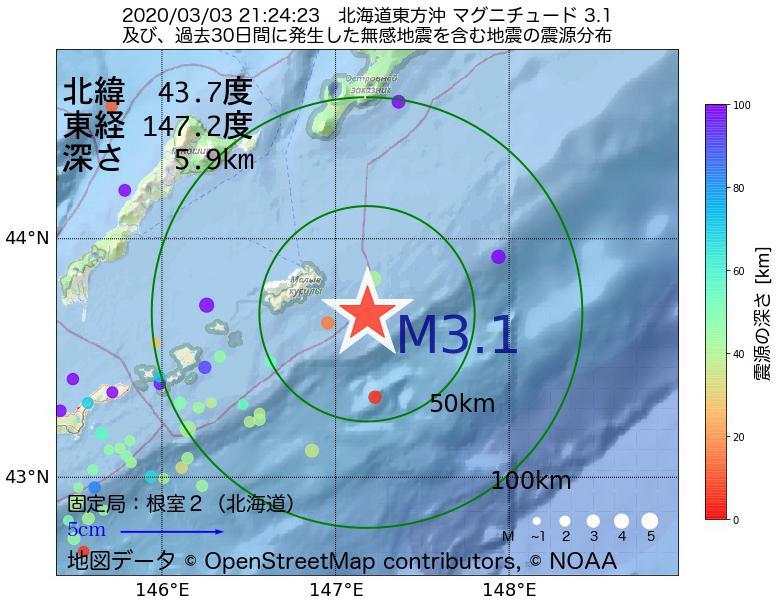 地震震源マップ:2020年03月03日 21時24分 北海道東方沖でM3.1の地震
