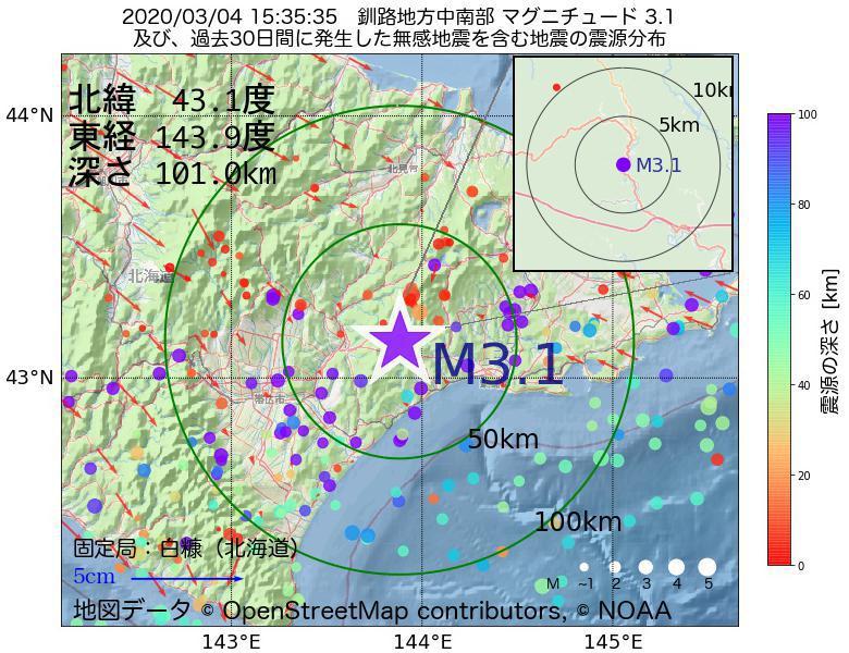 地震震源マップ:2020年03月04日 15時35分 釧路地方中南部でM3.1の地震