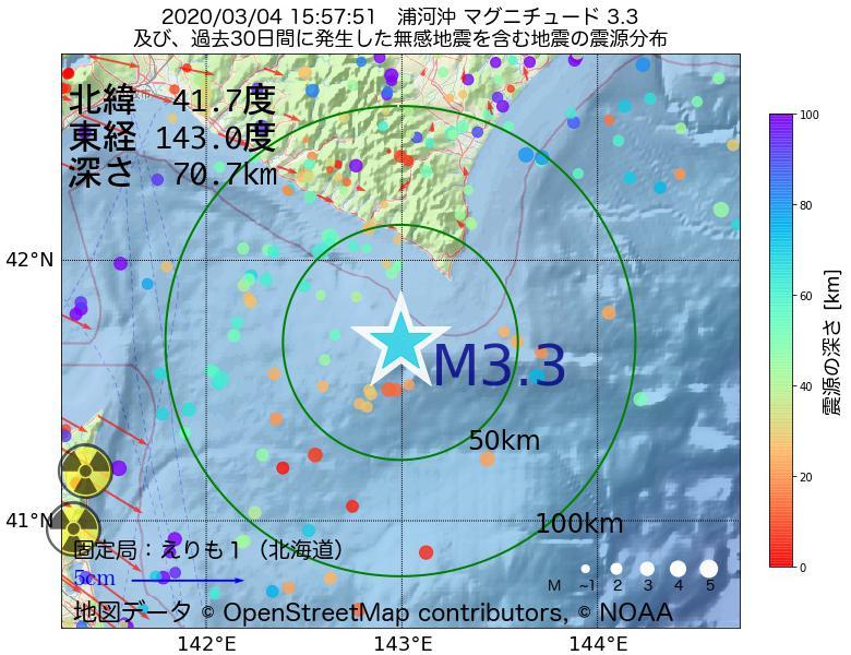 地震震源マップ:2020年03月04日 15時57分 浦河沖でM3.3の地震