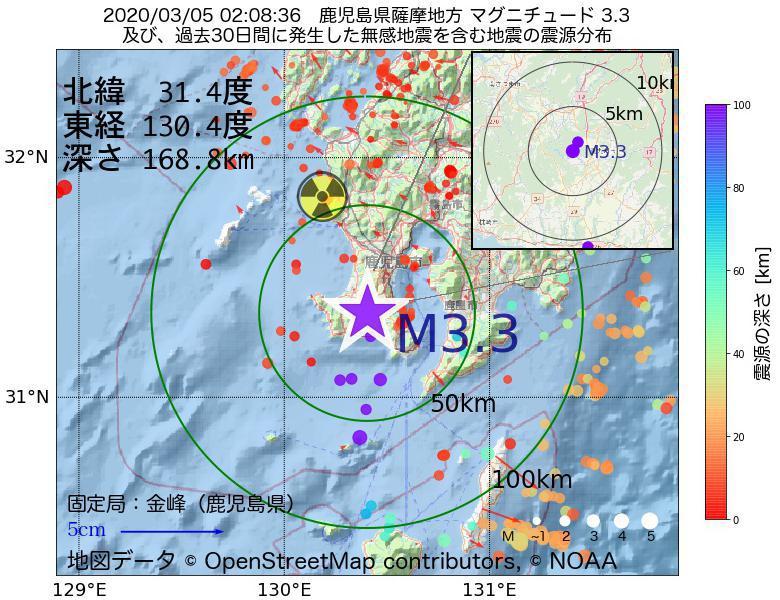 地震震源マップ:2020年03月05日 02時08分 鹿児島県薩摩地方でM3.3の地震