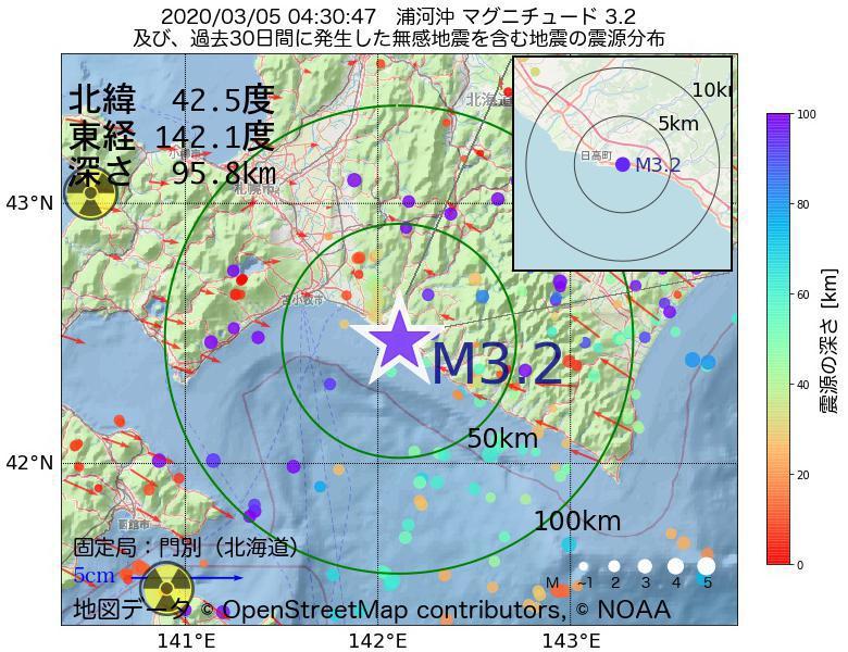 地震震源マップ:2020年03月05日 04時30分 浦河沖でM3.2の地震
