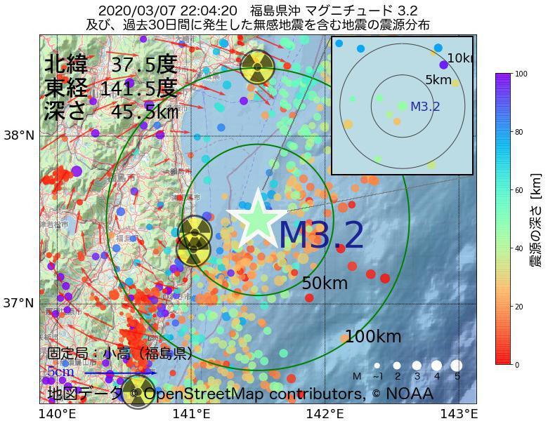 地震震源マップ:2020年03月07日 22時04分 福島県沖でM3.2の地震