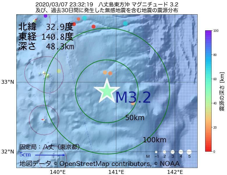 地震震源マップ:2020年03月07日 23時32分 八丈島東方沖でM3.2の地震