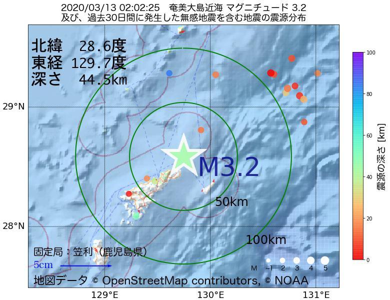地震震源マップ:2020年03月13日 02時02分 奄美大島近海でM3.2の地震