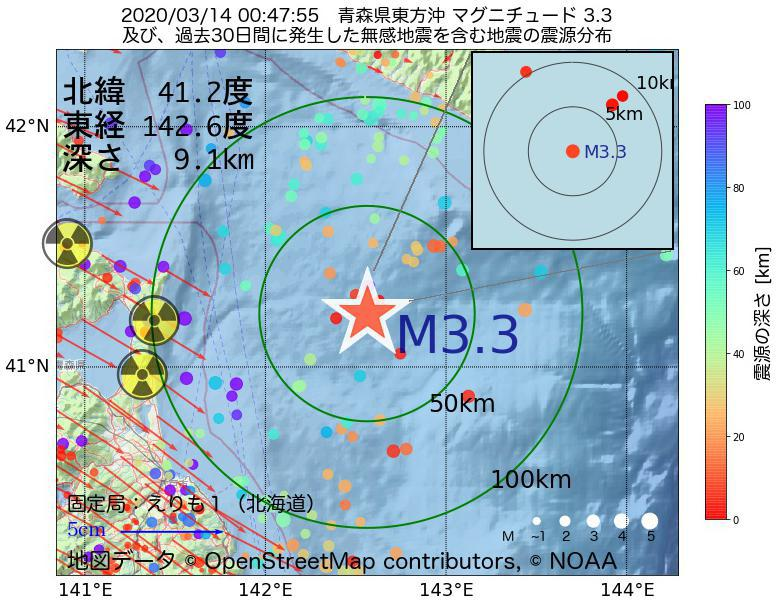 地震震源マップ:2020年03月14日 00時47分 青森県東方沖でM3.3の地震