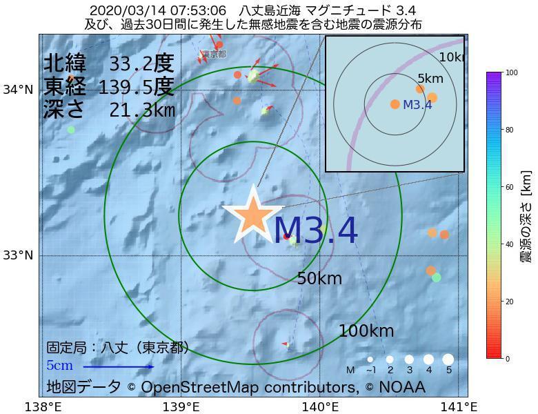 地震震源マップ:2020年03月14日 07時53分 八丈島近海でM3.4の地震