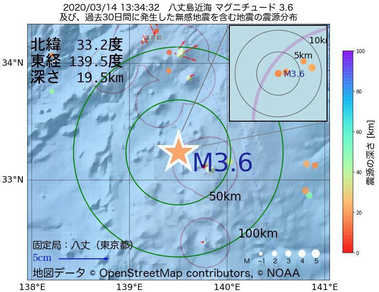 地震震源マップ:2020年03月14日 13時34分 八丈島近海でM3.6の地震
