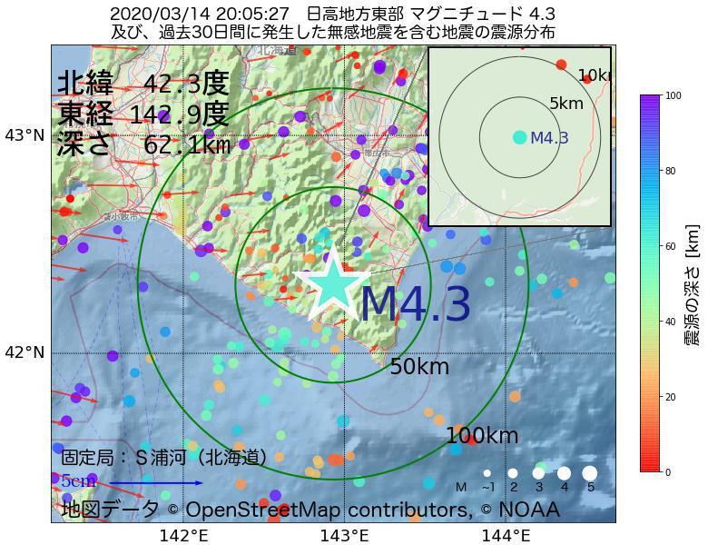 地震震源マップ:2020年03月14日 20時05分 日高地方東部でM4.3の地震