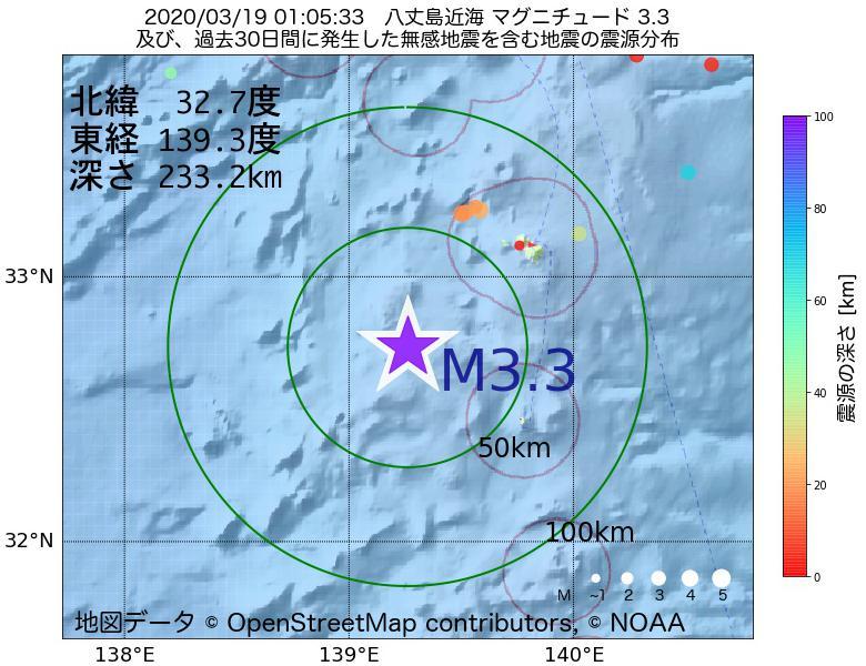 地震震源マップ:2020年03月19日 01時05分 八丈島近海でM3.3の地震
