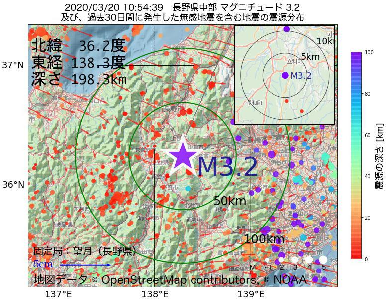 地震震源マップ:2020年03月20日 10時54分 長野県中部でM3.2の地震