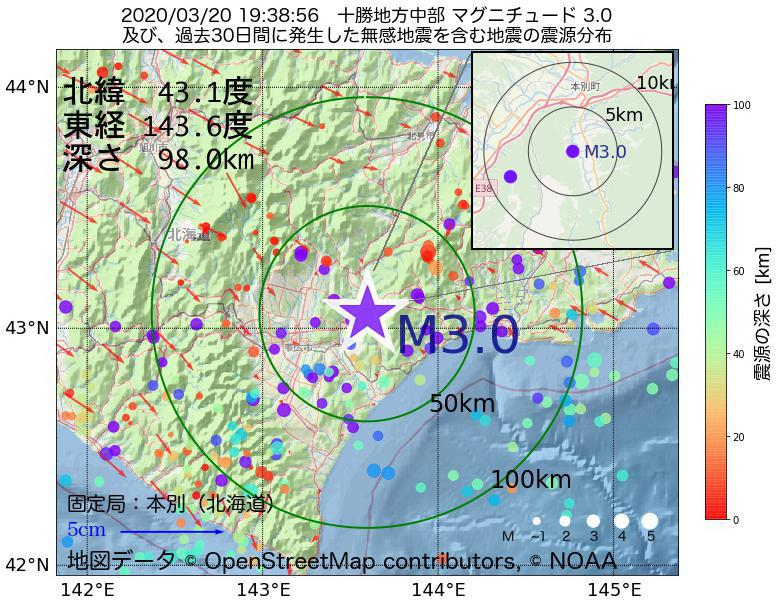地震震源マップ:2020年03月20日 19時38分 十勝地方中部でM3.0の地震