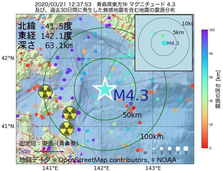 地震震源マップ:2020年03月21日 12時37分 青森県東方沖でM4.3の地震
