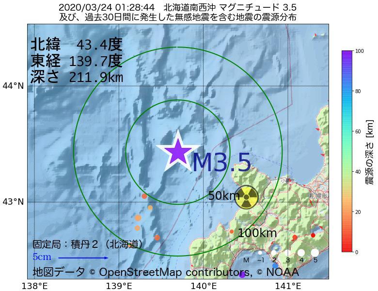 地震震源マップ:2020年03月24日 01時28分 北海道南西沖でM3.5の地震