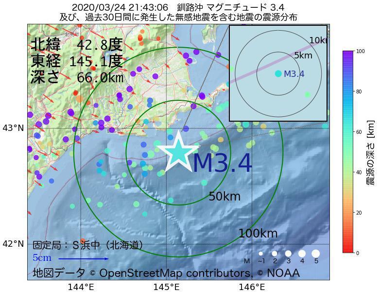 地震震源マップ:2020年03月24日 21時43分 釧路沖でM3.4の地震