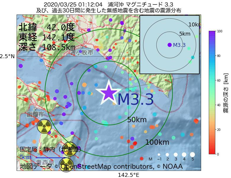 地震震源マップ:2020年03月25日 01時12分 浦河沖でM3.3の地震