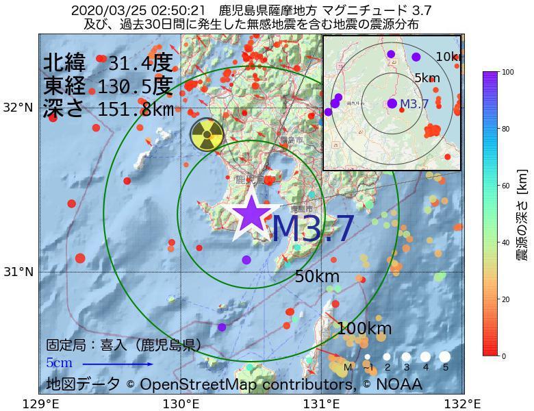 地震震源マップ:2020年03月25日 02時50分 鹿児島県薩摩地方でM3.7の地震